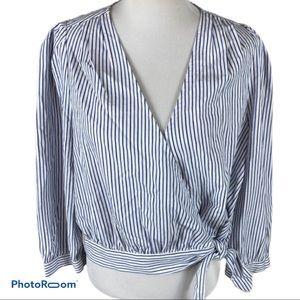 NWT Striped Waist-tied wrap top